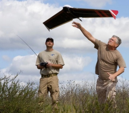 TX EquuSearch volunteers Jacob Elson and Gene Robinson with 5 pound Spectra styrofoam drone (Image: TX EquuSearch Mounted Search and Recovery Team)
