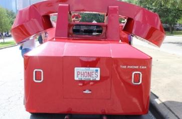 Back of red phone art car. (Christine DiStadio/khou.com
