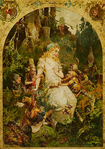 German fairy tale, end of 19th century.(Illustrators Offterdinger and Leutemann.(Photo by Harke.US public domain.expired cpoyright:life of author:Commons.wikimedia.org)
