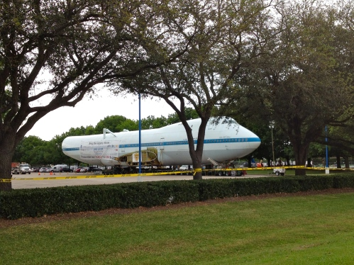NASA's Boeing 747 Shuttle Carrier Aircraft waiting in parking lot at Space Center Houston