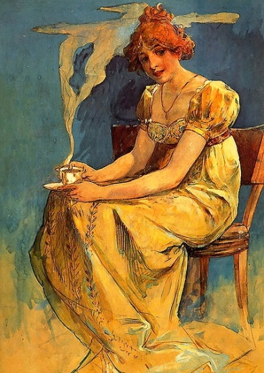 Painting of lady with cup. Mucha coffee (Alfons Mucha 1860-1939.Art Renewal Center Museum/ US public domain: photo reprod of PD art/life of artist 70+/Commons.wikimedia.org)