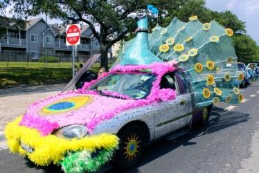 Peacock art car. Christine DiStadio/khou.com