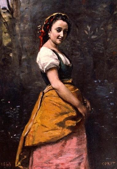Young girl in woods, 1865.Corot 1796-1875 (Bridgestone Museum of Art:Google art project:US public domain.reprod of PD art: artist life+100:publication date:Commons.wikimedia.org)