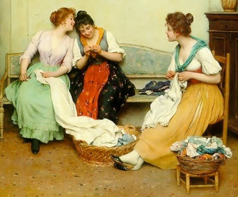 Painting. 3 women gossips. Eugene de Blaas 1843-1932 (Public domain: reprod of PD art/artist life+100/Commons.wikimedia.org)