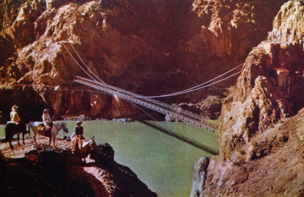 Suspension bridge over the Colorado River. Grand Canyon. Intermountain Tourist Supply/vintage post card from personal collection