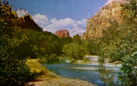 (Zion National Park. North Fork of river. Intermountain Tourist Supply/ Vintage postcard from personal collection)
