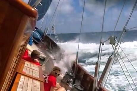 Crew getting wet on sailboat.SYCA Training Day on Adela. (YouTube.com)