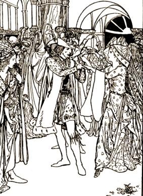 "Palace dance.1912 Grimm's fairy tale ""Cat-skin""Bell-illustr/USPD:pub.date,artist life/Commons.wikimedia.org"