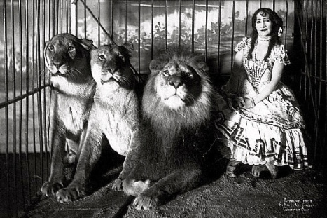 woman lion tamer.Adjie and lions.1899/US PD.pub.date/Commons.wikimedia.org