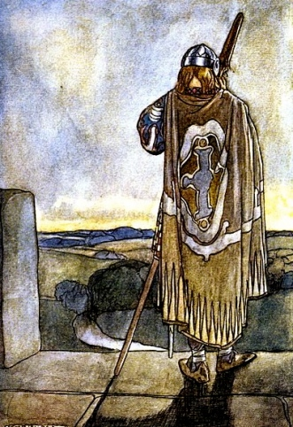 """Finn heard the notes of fairy harp."" High deed of Finn and other BArdic Romances of Ancient Ireland.Rolleston:Reid-illustr.:Gutneberg.org:USPD.pub.date:Commons.wikimedia.org"