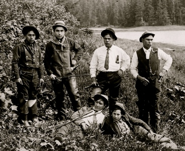 group of young men ready to fish (Klawock sporting group.H.S.Wellcome 1853-1936/NARA/US PD:by fed.employee/pub.date/Commons.wikimedia.org)