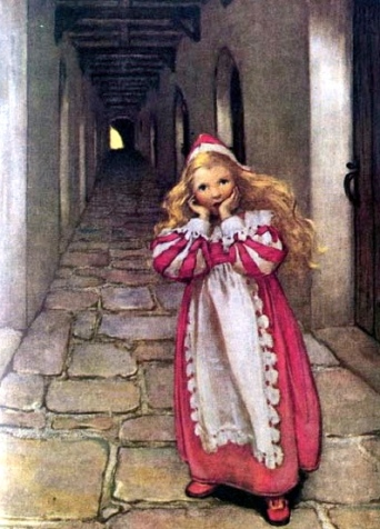 Princess in hallway. 1920 Princess and the Goblin.Jessie Wilcox Smith:USPD.pub.date:artist life+75:Commons.wikimedia.org