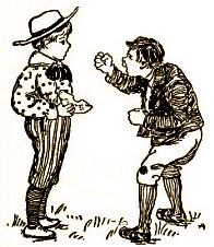 2 boys fighting. 1901.Clare Atwood. Nursery Rhymes/US PD:pub.date/Commons.wikimedia.org