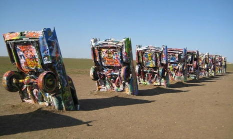 Cadillac cars buried nose first.Cadillac Ranch, Amarillo. (Richie Diesterheft/Commons.wikimedia.org)