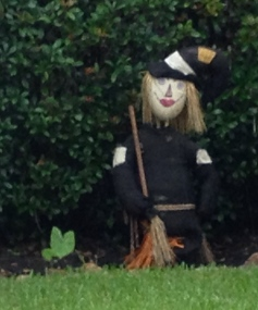 Halloween yard decoration. witch with broom