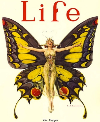 Butterfly costume.The Flapper by Frank X.Leyendecker:Life Magazine cover, 1922.US PD.pub.date:Commons.wikimedia.org)
