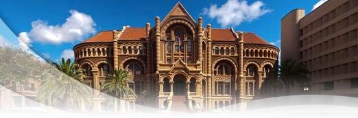 Established in 1891. Ashbel Smith building called Old Red. UTMB-Galveston (utmb.edu screenshot)