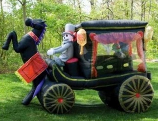 inflatable Halloween yard decoration. Horse drawn hearse. (Gemmy)