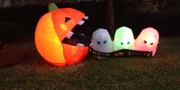 Inflatable pumpkin yard decoration.All rights reserved. No permissions granted. Copyrighted