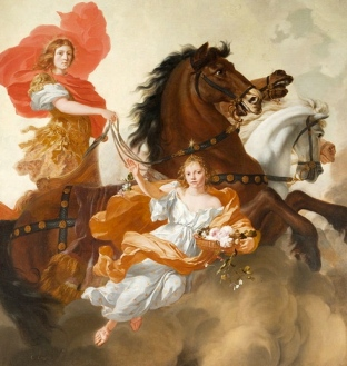 Chariot.1671.Gerard de Lairesse.Apollo and Aurora/Met.NYC/USPD: reprod of PD art, artist life, pub.date/Commons.wikimedia.org