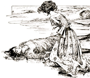 Woman discovers drowned man. 1899. Anderson's Fairy tales. Stratton/USPD.pub.date/Commons.wikimedia.org)