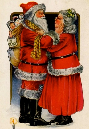 Santa and Mrs. Claus.1919 postcard. Unknown artist:US PD.Pub.date, exp.cr:Commons.wikimedia.org