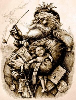 Santa. Thomas Nash's Merry Old Santa Christmas, 1881.Harper's Weekly/US PD: reprod. of PD art, pub.date, artist life/Commons.wikimedia.org