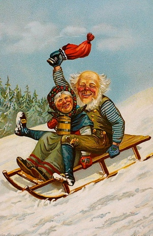 Vintage Christmas postcard of couple on sled. 1890. Larsen/Nat.Lib.of Norway.Anne-Sophie Ofrim/Commons.wikimedia.org