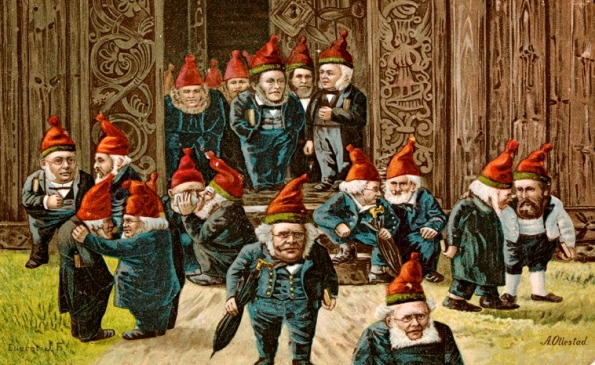 group of elves. (1895 postcard.Kunster.Eier/Nat.Lib.of Norway/Commons.wikimedia.org)