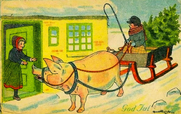 Pig pulling Christmas wagon. ( vintage Christmas card.1919. Carl Rogind, died 1933. (USPD.pub.date:Commons.wikimedia.org)