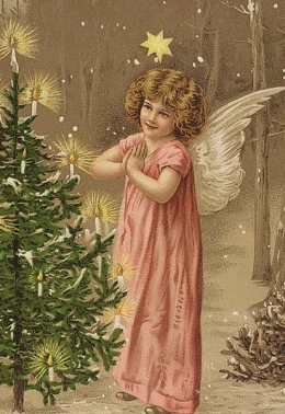 small angel by Christmas tree. Vintage Christmas postcard.unknown artist.Nat.Lib.of Norway.Anne-Sopuie Ofrim/Commons.wikimedia.org)
