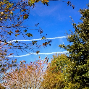 streaks of vapor trails in sky. All rights reserved. Copy righted. No permissions granted