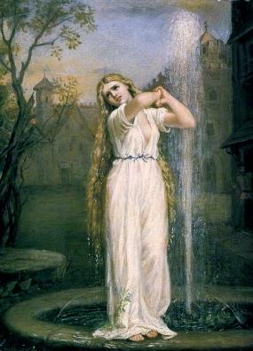Woman in garden fountain. (Undine.1872 (Waterhouse/USPD :reprod of PD art/artist life+90/Commons.wikimedia.org)