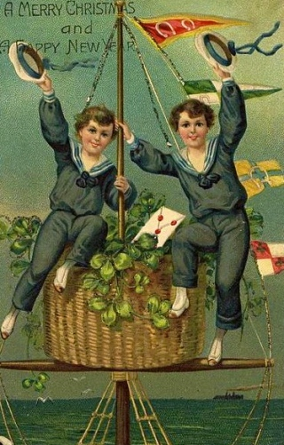 Victorian Christmas card. 2 boys on a ship's mast. Oxley Library, Queeensland:PD released. pub.date:Commons.wikimedia.com