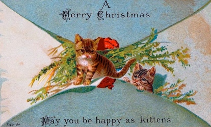 Victorian Christmas card with cats/Nova Scotia Archives/USPD:pub.date/exp cr/Commons.wikimedia.org