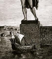 1880 artist impression of Colosse de Rhodes.Barclay/USPD: artist life, pub.date/Commons.wikimedia.org)