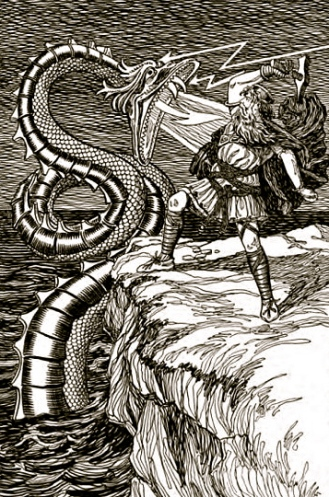 """Mythology.1901""""Thor Fighting the Serpent"""".HLM.Asgard Stories by Foster/USPD:pub.date/Commons.wikimedia.com"""