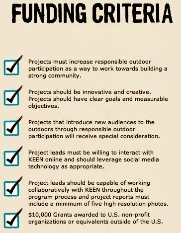 Criteria for Keen Effect grants. (Keenfootwear.com)