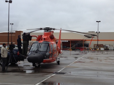 All rights reserved. Coast guard helicopter in parking lotCopyrighted. No permissions granted