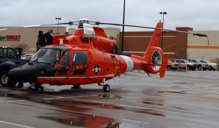 No permissions granted. Coast Guard helicopter parked at Target. All rights reserved. Copyrighted