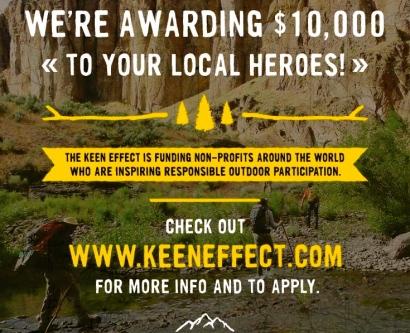 Hikers crossing stream. Keen introduces Keen Effect Grants (Keenfootwear.com)