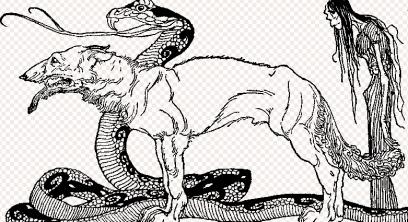 "Serpent, wolf, and Hel.""Children of Loki""1920 from Children of Odin.Padraic Colum/Ill.Pogany/Macmillan/USPD:Pub.date/Commons.wikimedia.org"