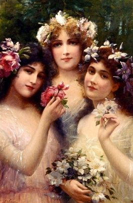 Three pretty girls with flowers in their hair. The Three Graces. Emile Vernon/USPD. pub.date/Commons.wikimedia.org.