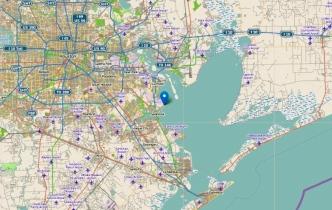 Coastal map showing Pine Gully site by Galveston Bay. (www.historicalmarkerproject: Pine Gully. Marker HM005