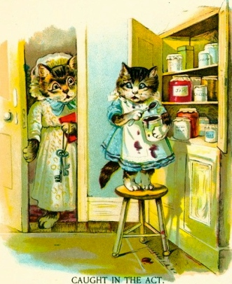 "Kitten caught in pantry, 1880. Pearl Series. ""The little jam thief""./USPD:pub.date/Commons.wikimedia.org)"