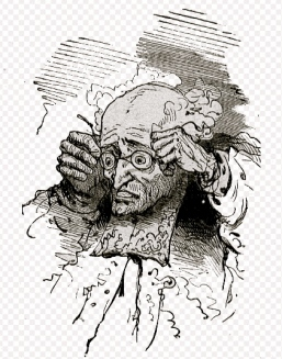 "man holding head. Andersen.""Les Habits Neufs du Grand-Duc"".Bertal (1820-1882)/USPD:Pub.date/Commons.wikimedia.org)"