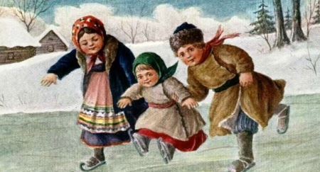 children skating.1917. USPD.reprod of PD art:exp.cr:artist life:Commons.wikimedia.org