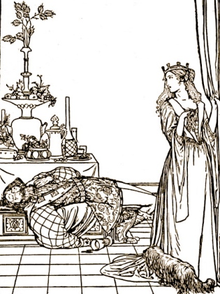 Dismayed Princess looking a drunk. Grimm's Household Tales.1912.Bell-illustr/USPD: pub.date, artist life/Commons.wikimedia.org)