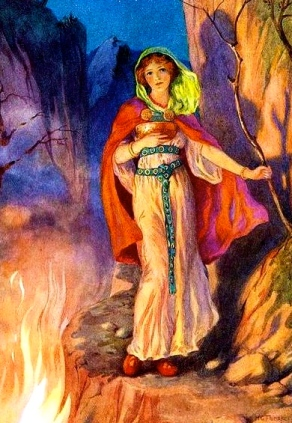 Woman standing by  fire. Loki's wife.Northern Legends/Belgrave Hart.1920/ill./Theaker:geermanicmythology.com/USPD:pub.dateCommons.wikimedia.org