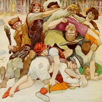 A pile of fighting men. (Polish Fairy Tales.Glinski:ill.Walton, 1920/Gutenbeerg.org/USPD:pub.date/Commons.wikimedia.org)